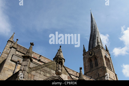 Chesterfield Parish Church known as the Crooked Spire - Stock Photo