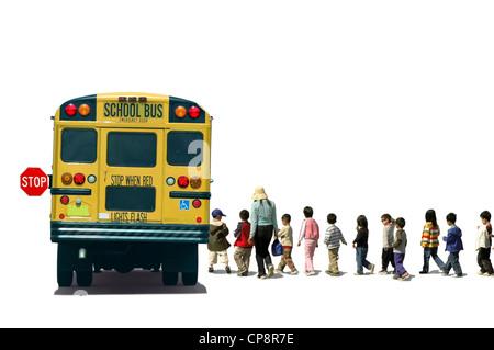 Students (school children/pupils) and a teacher boarding a school bus - Stock Photo