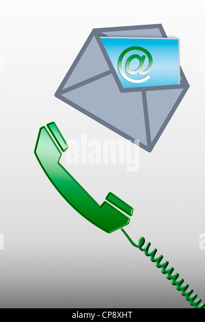 Graphical phone and opened envelope with @ sign card - Stock Photo