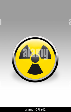 Yellow button showing nuclear power sign, close up - Stock Photo