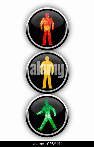 Black buttons showing traffic light, close up - Stock Photo