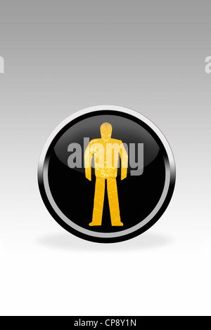 Black button showing dont walk signal, close up - Stock Photo
