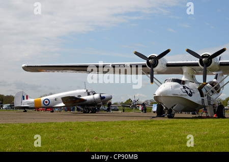 The Consolidated PBY Catalina was an American flying boat of WW2. This ione is displayed at Abingdon Airshow 2012. - Stock Photo