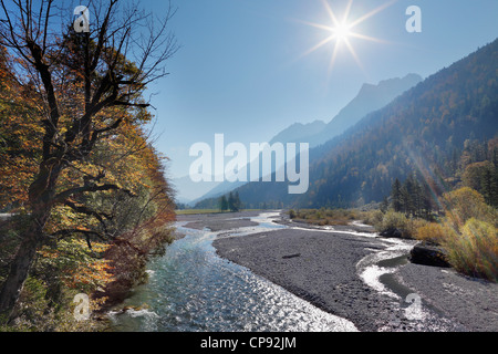 Austria, Tyrol, View of Karwendel Mountains with river - Stock Photo