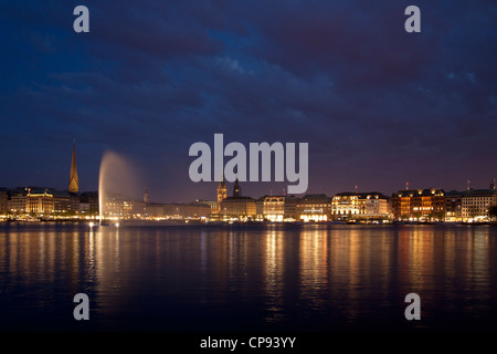 lake Binnenalster in the evening, Hamburg, Germany - Stock Photo