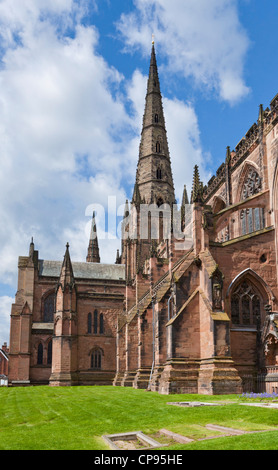 Lichfield cathedral staffordshire England UK GB EU Europe - Stock Photo