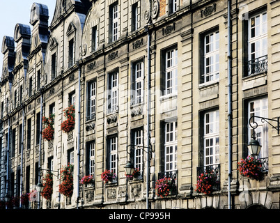 flemish architecture in the town of arras, nord-picardy, nord-pas-de-calais, france - Stock Photo