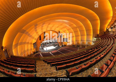 View of empty seats at historic radio city music hall new for The balcony music