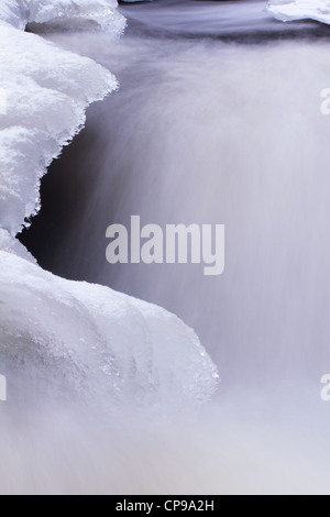 Ice and flowing water - movement - Stock Photo
