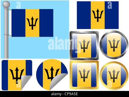 Flag Set Barbados - Stock Photo