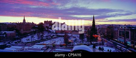 Edinburgh Christmas panoramic with snow, Scotland