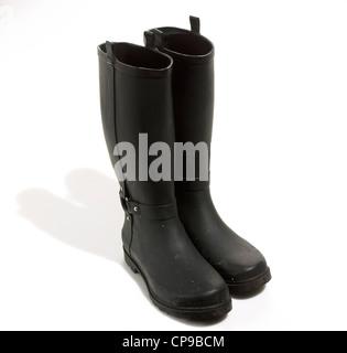 Tall Black Rubber Rain Boots - Stock Photo