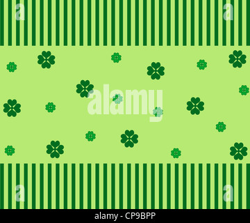 Green clovers and stripes pattern - Stock Photo