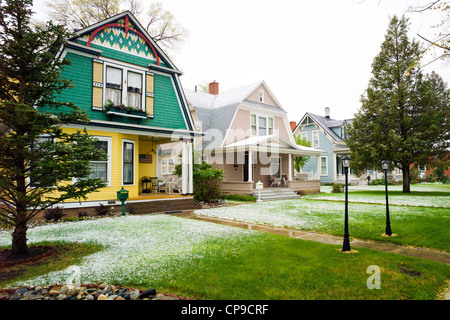 Victorian home, early May snowstorm, historic downtown district, small mountain town of Salida, Colorado, USA - Stock Photo