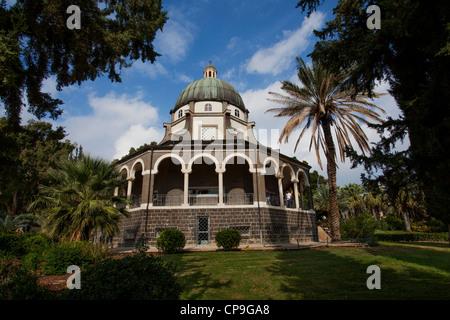Roman Catholic Chapel on the Mount Beatitudes near Lake Kinneret and Sea of Galilee. Israel - Stock Photo