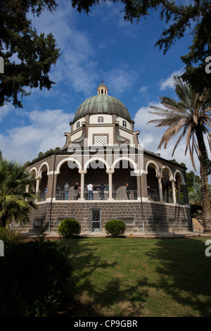 Roman Catholic Chapel on the Mount Beatitudes near Lake Kinneret and Sea of Galilee. Israel - Stock Photo