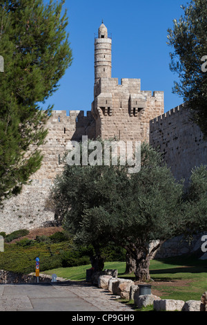 Tower of David in the old holy city of Jerusalem. Israel - Stock Photo