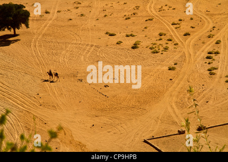 Wadi Rum from above, Jordan - Stock Photo