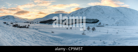 Sunset at Glen Clunie in winter, Cairngorms, Scotland, UK - Stock Photo