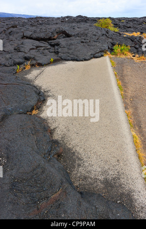 Road closed in Hawaii Volcanoes National Park, This Big Island, Hawaii. Road closed after Lava flow over the road. - Stock Photo