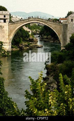 Stari Most Peace Bridge and the Neretva river.Mostar.Bosnia- Herzegovina.Balkans.Europe. - Stock Photo
