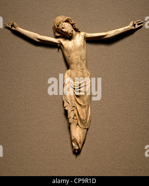 Figure of Christ on the Cross Paris 1320-1330 Ivoire France French - Stock Photo