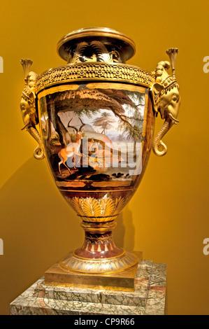 Vase Louis XVIII King of France Louvre French porcelain gilt bronze - Stock Photo