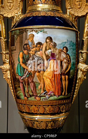 Louis XVIII King of France   Louvre The cartel signed Clan: Angelica and Medoro Hard porcelain gilt bronze - Stock Photo