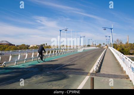 Pasarela de la Cartuja bridge (1992) Seville Andalusia Spain - Stock Photo