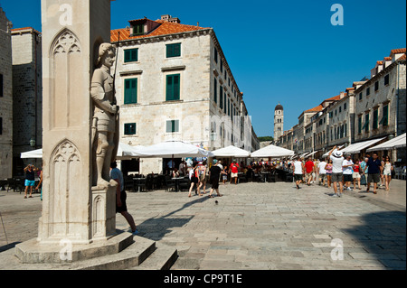 Orlando's column on Luza Square and the Stadrun in background , Old Town, Dubrovnik. Croatia. - Stock Photo