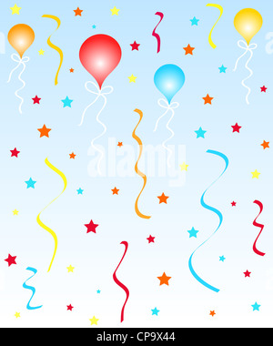 Colorful celebration balloons, ribbons and stars - Stock Photo