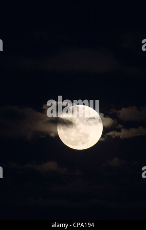 Perigree full moon, or supermoon, rises over Salida, Colorado, USA. Moon is closer to earth in orbit than normal. - Stock Photo