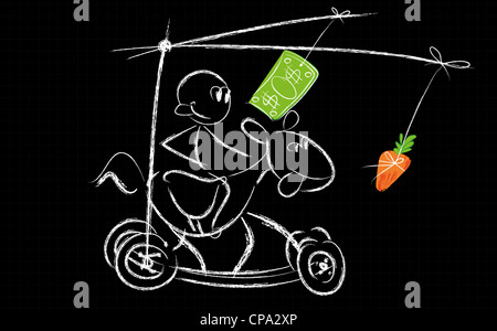 Humorous illustration of a person chasing money over a horse that in turn chases a carrot. Representing struggle - Stock Photo