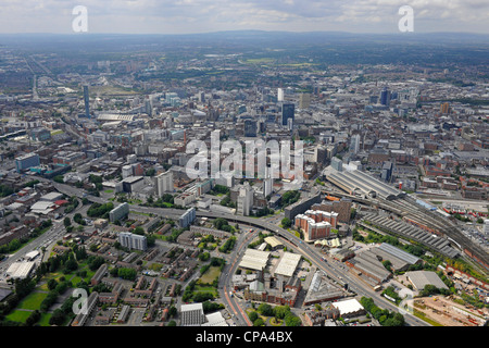 Aerial view of Manchester city centre - Stock Photo