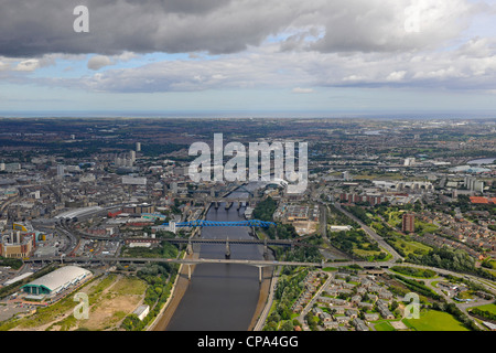 Aerial View of Newcastle and Gateshead - Stock Photo