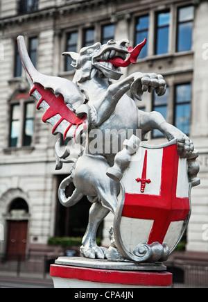 City of London dragon statue marking the City boundary, London , England. - Stock Photo
