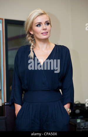 Katherine Jenkins returns to her primary school in Neath, South Wales. - Stock Photo