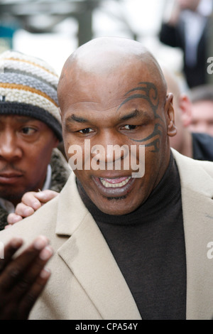 Mike Tyson pays respects to Johnny Owen when he visits Merthyr Tydfil, South Wales, 2009 - Stock Photo