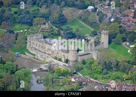 Aerial image of Warwick castle - Stock Photo