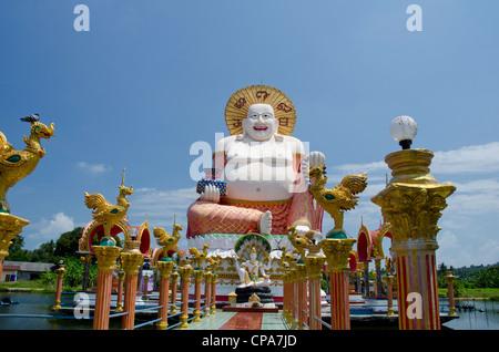 Thailand, Ko Samui (aka Koh Samui). Wat Plai Laem, temple and giant statue of Big Happy Buddha. - Stock Photo