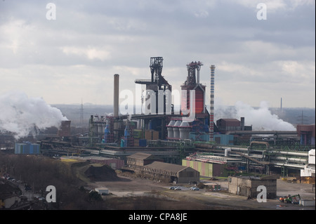 The smeltery of the ThyssenKrupp Steel AG, blast furnace 8, Duisburg, Germany - Stock Photo