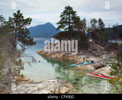 sea kayaks, The Curme Islands in Desolation Sound, British Columbia - Stock Photo