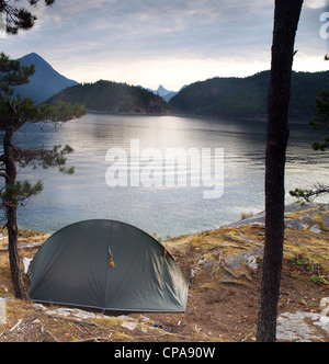 A tent pitched on one of The Curme Islands in Desolation Sound, British Columbia, Canada - Stock Photo