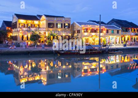 Dusk view of UNESCO world heritage town of Hoian in Vietnam - Stock Photo