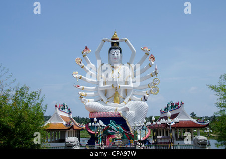 Thailand, Ko Samui (aka Koh Samui). Wat Plai Laem. Gaint statue of Kwan Yin (aka Guanjin or Goddess of Mercy). - Stock Photo