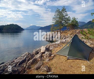 sea kayaker's campsite in British Columbia, Canada - Stock Photo