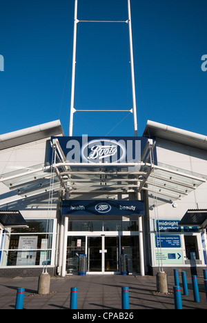 Boots store at the WestQuay shopping centre, Southampton, Hampshire, England - Stock Photo