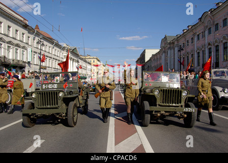 Russia. St. Petersburg. The parade of veterans of World War II on the Nevsky Prospect. - Stock Photo