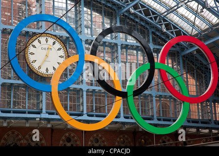 Giant set of Olympic Rings at St Pancras station, central London, United Kingdom - Stock Photo