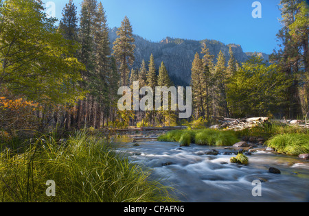 A river runs through the mountainous, forested landscape of Yosemite National Park in California - Stock Photo